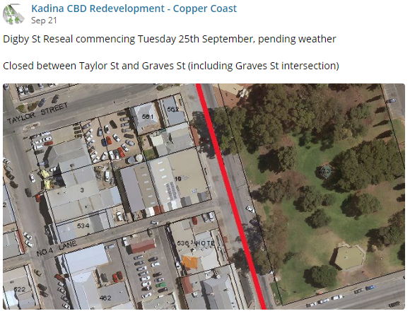 Kadina CBD Update 21st Sept - FB