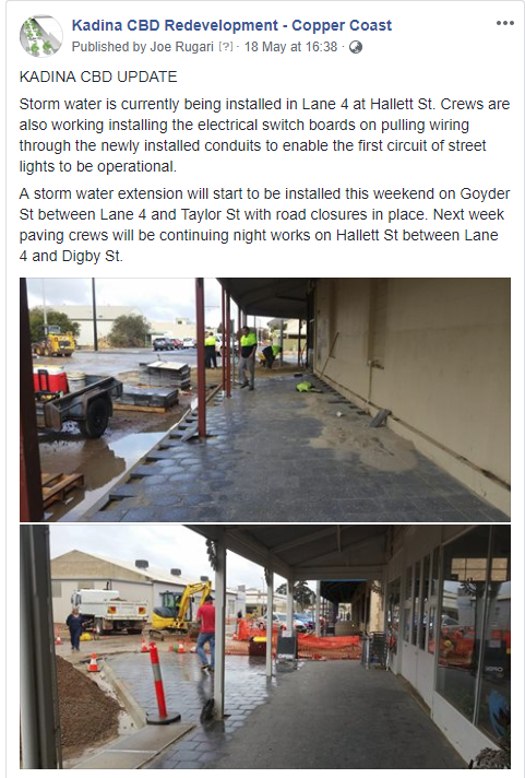 Kadina CBD Update - Facebook 18th May 2018