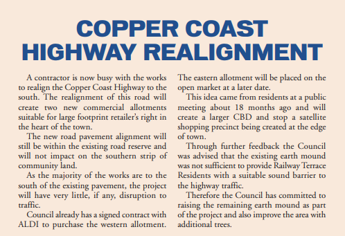 Copper Coast Highway Realignment - Jan 2018 Newsletter