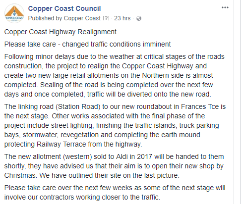 CC Highway Realignment FB 30th April