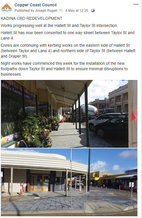 Kadina CBD UPdate - Facebook 4th May 2018