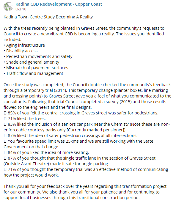 Kadina CBD Update 16th October 2018 FB