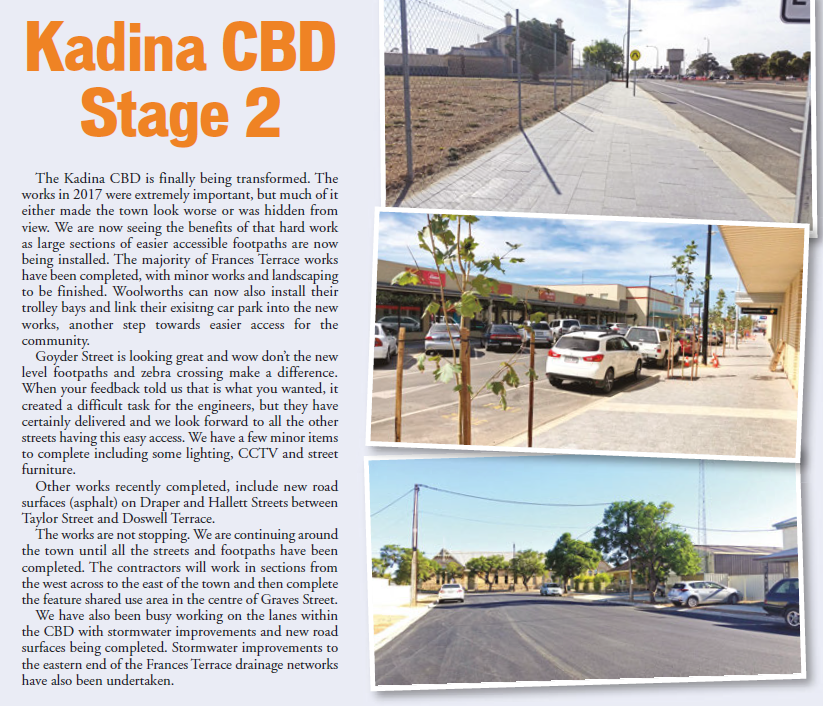 Kadina CBD Update April 2018 Newsletter