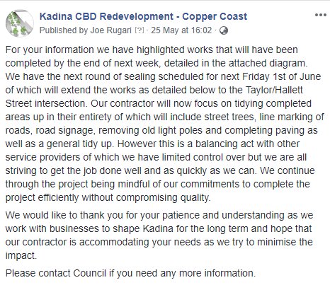 Kadina CBD Update 25th May 2018