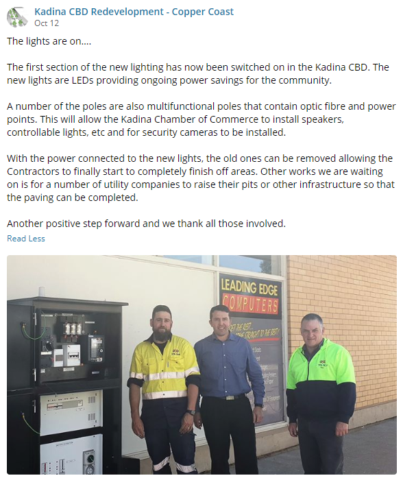 Kadina CBD Update 12 October 2018 FB