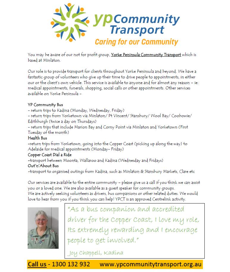 YP Community Transport Flyer