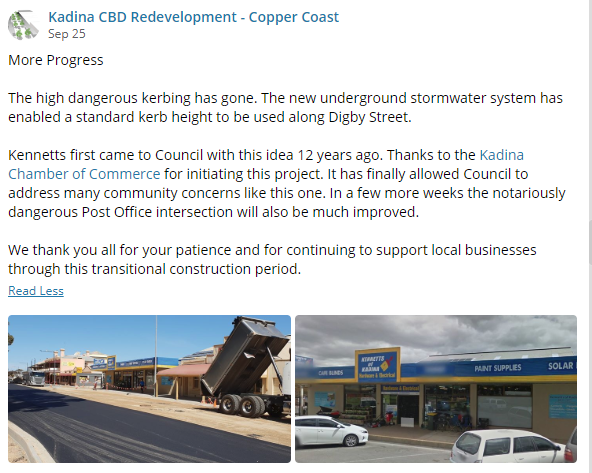 Kadina CBD Update 25th September 2018 FB