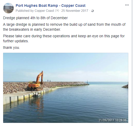 Port Hughes Boat Ramp Update - 25th November 2017 - Facebook