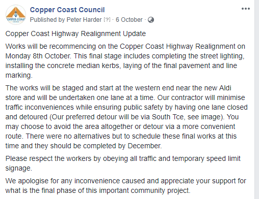 Copper Coast Highway Update 6th oct 2018 FB