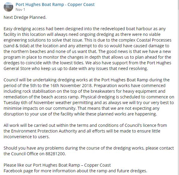 Pt Hughes BRamp FB Update 1st Nov 2018