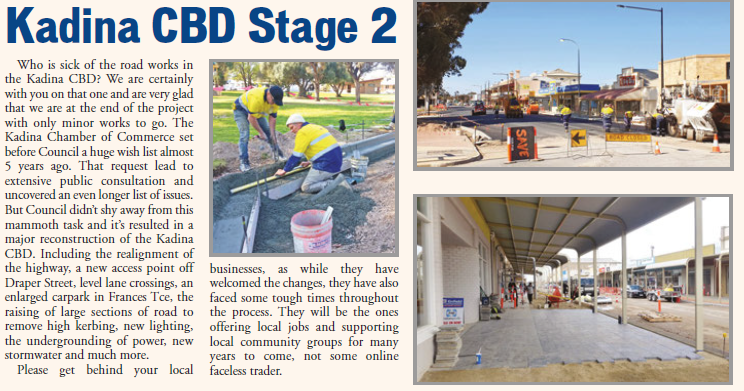 Kadina CBD Stage 2 Oct 2018 Newsletter