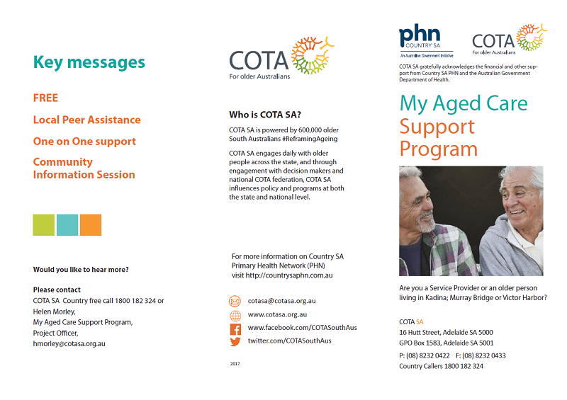 My Aged Care Local Support Program Leaflet Page 1