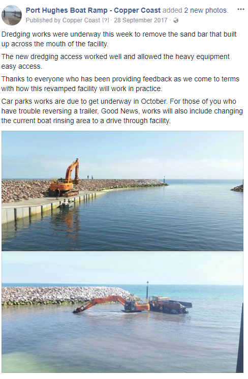 Pt Hughes Boat Ramp Project Update - 28th September 2017